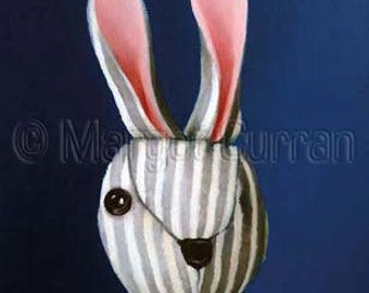 One-Eyed Striped Rabbit postcard 6-pack