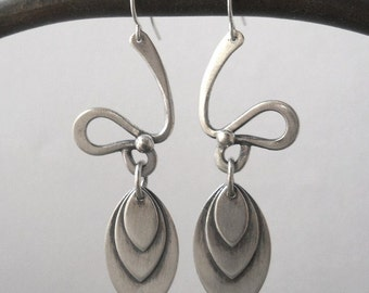 abstract leaf earrings, sterling silver, made to order
