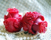 Beeswax Candles PAIR Hand Sculpted Rosebud Pure Beeswax Votive Candles in RED