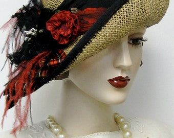 Seagrass Bicorn Bumper Hat with Tartan and Roses
