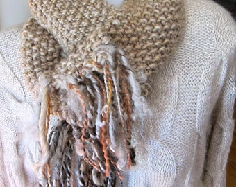 Hand Knit Camel Wool Long Skinny Scarf with Hand Spun Yarn Fringe OOAK