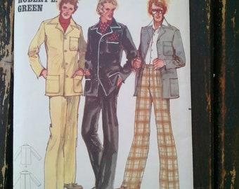 Rare 1970's Butterick Robert L. Green Men's Pants and Shirt Jacket Pattern 5123 Size 42