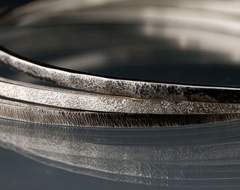 Textured Sterling Silver Bracelets Set of 3 Thin Oxidized Bangles