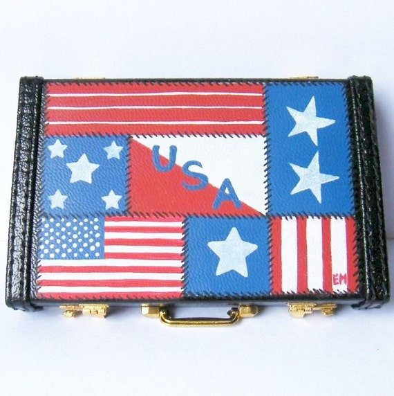 Business Card Holder/Calculator - Hand Painted - Patriotic Patchwork