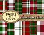 Printable Scrapbook Paper - Christmas Plaid - 12 x 12 - Set of 12 - INSTANT DOWNLOAD