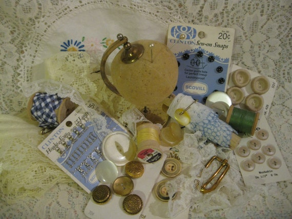 Old Doily...Pincushion on Stand and Other  Vintage Sewing Notions Lot  ( 2412 )