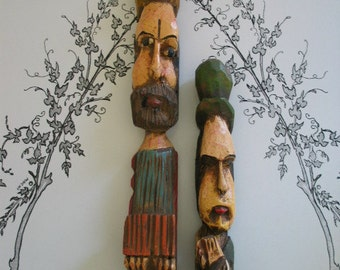 Amazing Faces Very Cool Wood Carved Couple - I Love Looks On Their Faces - Italy Maybe