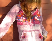 Custom Made To Order Mexican Embroidered Embroidery Applique Hippie Bohemian Upcycled Sweater Hoodie By MountainGirlClothing