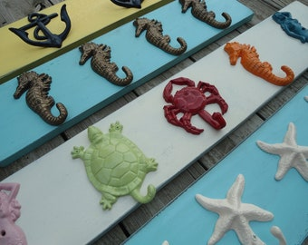 Turtle seahorse starfish nautical beach decor outdoor shower hot tub towel beach home bath towel rack hooks cottage renovation lakehouse
