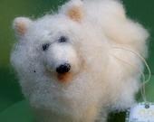 Wool Samoyed Wool Needle Felted Dog