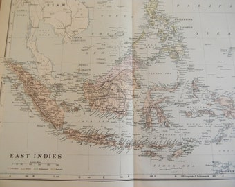 1897 Map East India Islands - Vintage Antique Map Great for Framing 100 Years Old