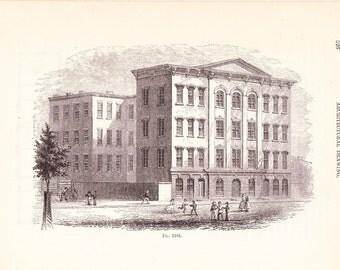 1892 Architecture Print - Building - Vintage Antique Art Illustration Interior Design Great for Framing 100 Years Old