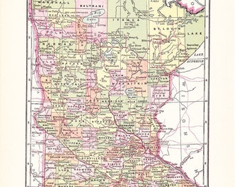 1903 State Map Minnesota - Vintage Antique Map Great for Framing 100 Years Old