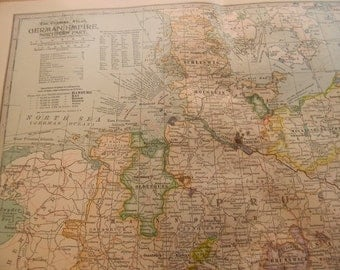 1902 Map Northern German Empire - Vintage Antique Map Great for Framing 100 Years Old
