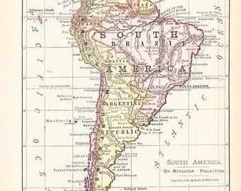 1900 Map South America - Vintage Antique Map Great for Framing 100 Years Old