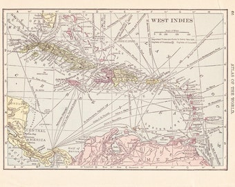1909 Map West Indies - Vintage Antique Map Great for Framing 100 Years Old