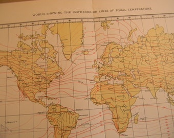 1903 World Map - Isothermal Lines Equal Temperature - Vintage Antique Map Great for Framing 100 Years Old