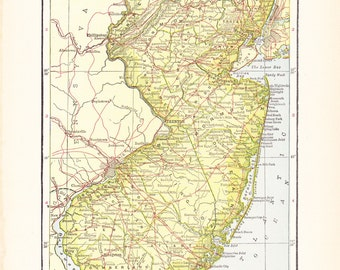 1903 State Map New Jersey - Vintage Antique Map Great for Framing 100 Years Old