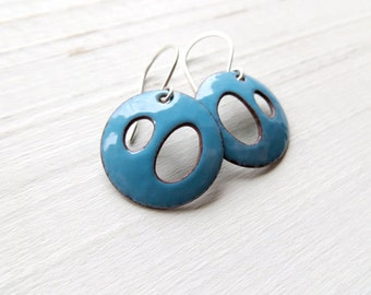 Modern Aqua Blue Enamel Earrings