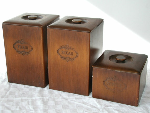 wooden kitchen canisters set of 3 vintage by sunsetsidevintage