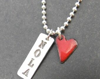 NOLA & tiny enamel heart on chain