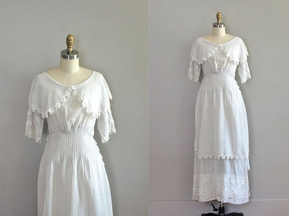 edwardian dress / 1910s dress / white cotton tea dress