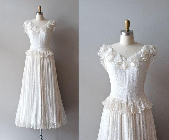 1930s dress / lace 30s  dress / wedding dress / Mirror Lace dress