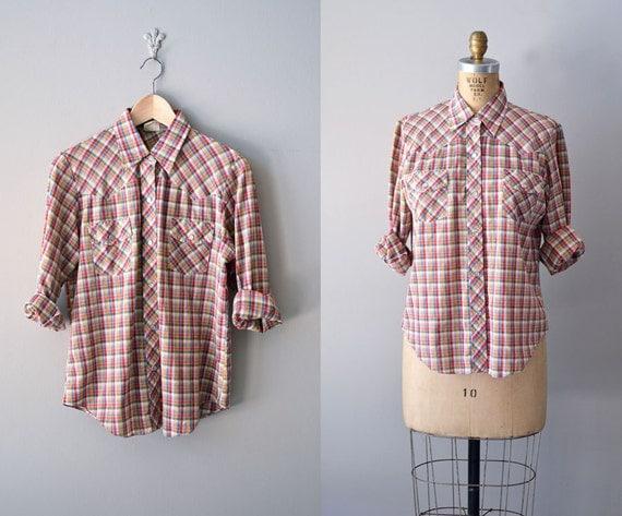 plaid blouse / 80s plaid shirt / vintage plaid shirt
