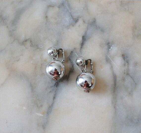 1960s earrings / silver ball drop earrings / Times Square
