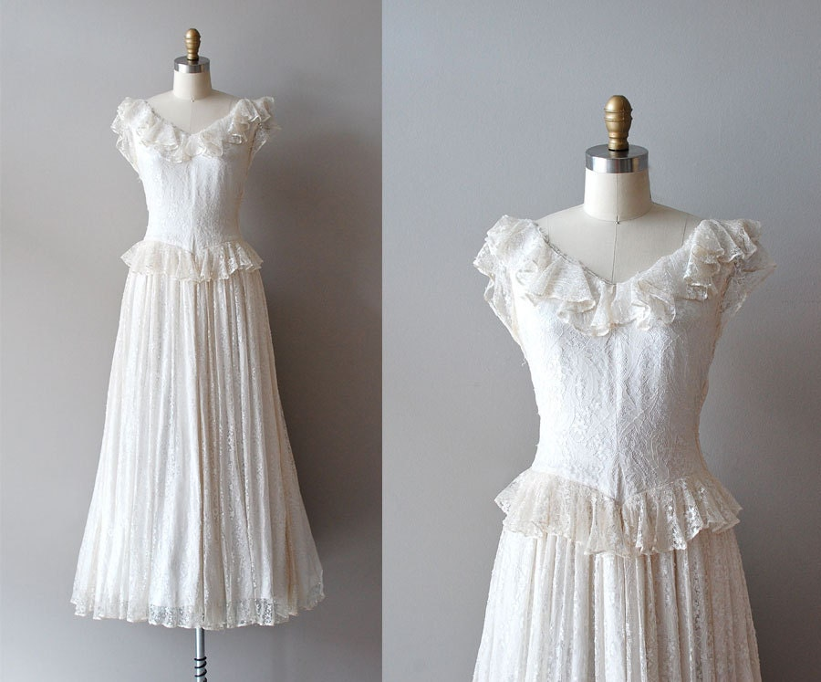 1930s Wedding Gowns: 1930s Dress / Lace 30s Dress / Wedding Dress / Mirror Lace