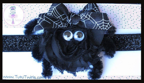 SALE over 15% off - ITSY BiTSY SPIDER Headband - Black Shabby Rosette Spider on Black Glitter Elastic - Halloween, Costume Parades
