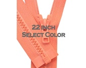 YKK Sport Jacket Zippers- One 22 inch Vislon Jacket Zipper YKK 5 Molded Plastic Medium Weight  Separating Bottom - Select Color