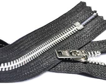 YKK WHOLESALE zippers- 25 YKK Brand 7Inch Jean zipper Number 5 Jeans Aluminum  Closed Bottom Color Black