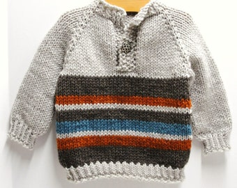 "Pullover baby sweater- ''Walk in the Woods"" llong sleeves, hand knit, celtic button,  18 month size"
