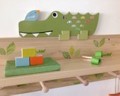 Alligator Clothing Rack and Shelf, Safari Nursery, Safari Kids Decor,  Alligator Kids Decor, eco friendly