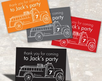 PRINT & SHIP Fire Truck Birthday Party Favor Bag Toppers (set of 12) | Paper and Cake