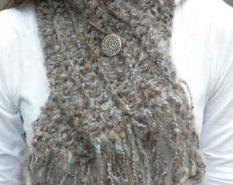 Stoney Grey Scarflette with Heart Button