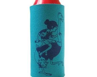 Ostrich Girl Tall Boy Coozie