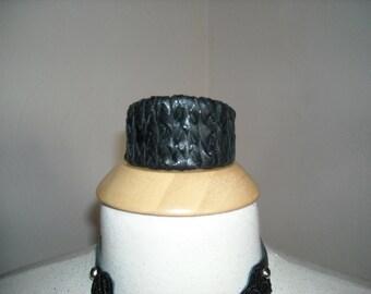 Braided Black  Italian leather cuff