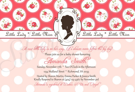 Little Lady, Little Miss - Custom Digital Shabby Chic Baby Shower Invitation - Girl, Pink, Blue, Brown, Roses, Floral - 5 Designs, Printable