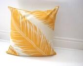 Marimekko PILLOW Sham Cover - Throw Pillow Cushion - Mustard Gold Feathers - Autumn Fall Home Decor  (only 1 - ready to ship)