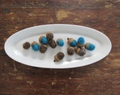 Felted Miniature Wool ACORNS- Teal and Brown Set of 12 -Felted Wool -Rustic Home Decor - Hostess Gift