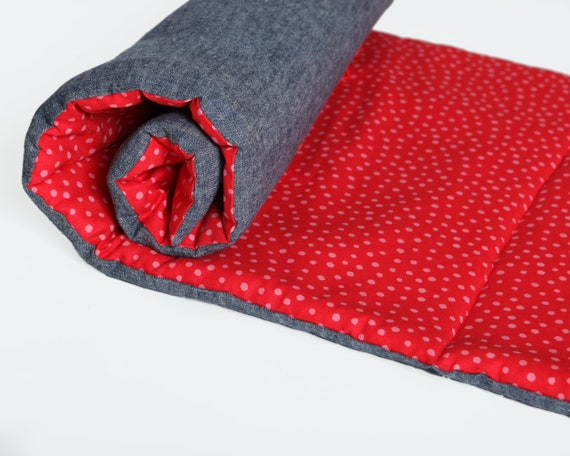 Red Organic Kids Nap Mat - Retro Red and Pink Polka Dots - Eco Friendly Toddler Preschool Napmat - Babble.Com's Favorite