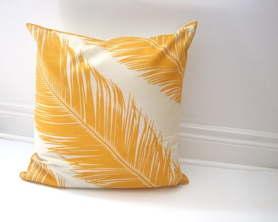 Marimekko PILLOW Sham Cover - Throw Pillow Cushion - Mustard Gold Feathers - Autumn Fall Home Decor  (only 1 - ready to ship)