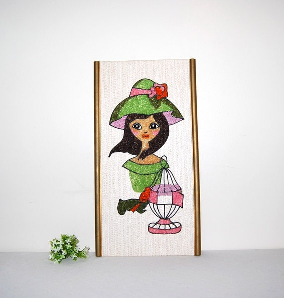Vintage Wall Hanging Girl with Bird Cage