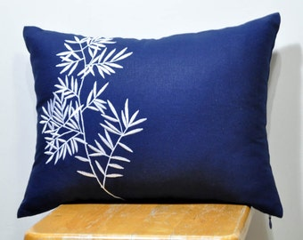 Bamboo Lumbar Pillow Cover, Decorative Pillow Cover, Navy Blue Linen  pillow, White Bamboo, Embroidered, Asian, Accent Pillow, Cushion