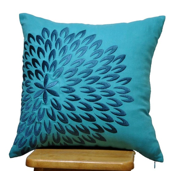 Teal Blue Throw Pillow Covers : Teal Throw Pillow Cover, Teal Linen Pillow Deep Blue Floral, Embroidered Cushion, Flower Pillow ...