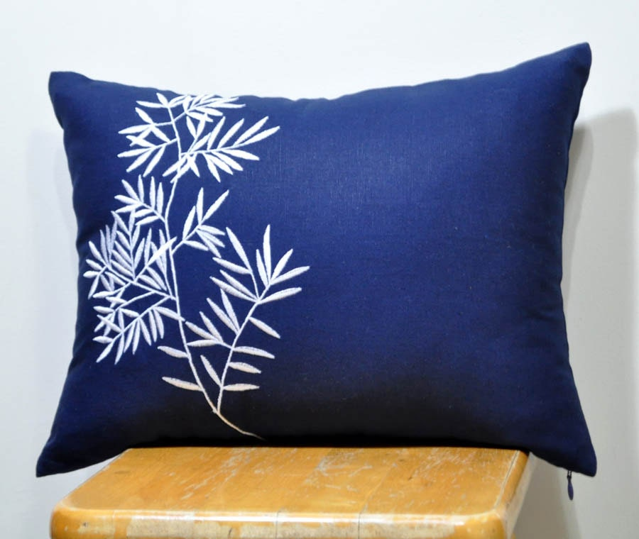 Bamboo Lumbar Pillow Cover Decorative Pillow Cover Navy Blue
