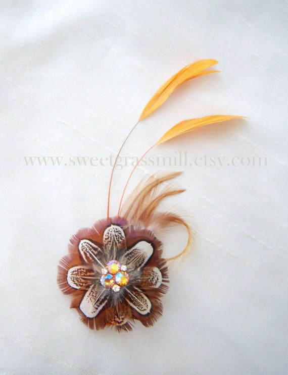 "Feather Fascinator Almond Brown Pheasant Flower Autumn Orange Feather Clip ""Rustic Floria"""