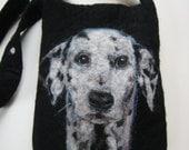 """Custom Needle Felted Pet Portrait on 7.5 x 9.5"""" Shoulder Bag"""